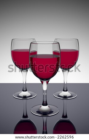 Three glasses of red wine on a dark reflective table (3D rendering)