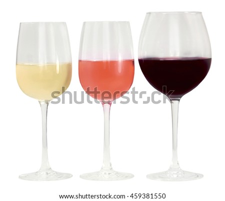 Three glasses of wine: white, rose, and red; isolated on white background - stock photo