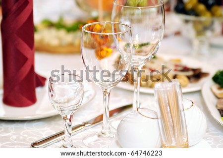 Three glasses on the served table