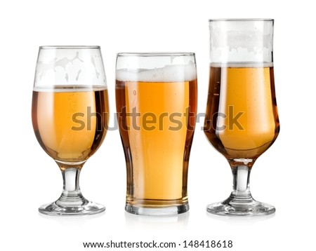 Three glasses with beer