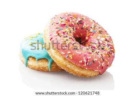 Three glazed donuts isolated on white background - stock photo