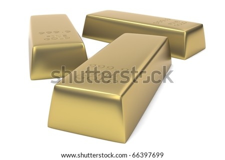 Three Gold Bars isolated against a white background.