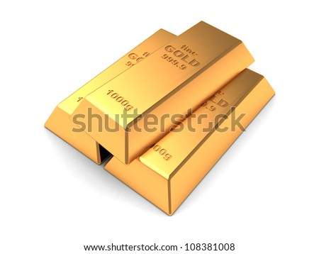 Three gold bars isolated on a white background - stock photo