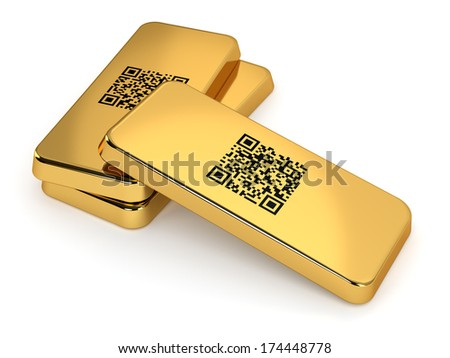 Three gold bars with QR code isolated on white background. Computer generated image with clipping path.