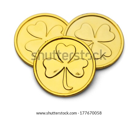 Three Gold Coins with Three Leaf Clover Design Isolated on White Background. - stock photo