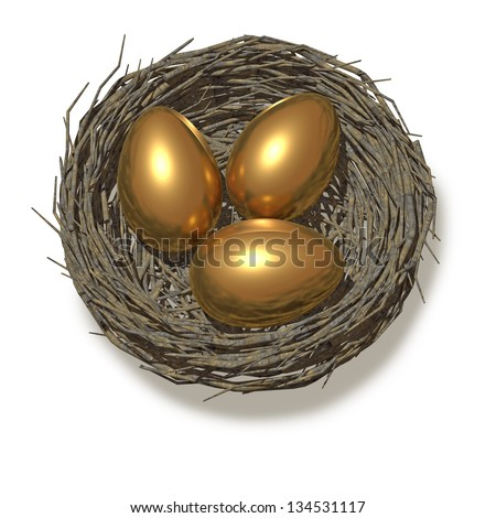 Three gold eggs in a nest