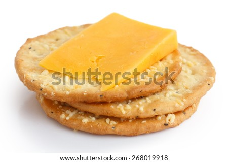 Three golden cheese crackers on white. With cheese. - stock photo