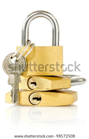 three golden padlocks over a white background - stock photo