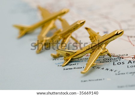 Three Golden Planes. Map is Copyright and Trademark Free, Downloaded off www.nationalatlas.gov - stock photo