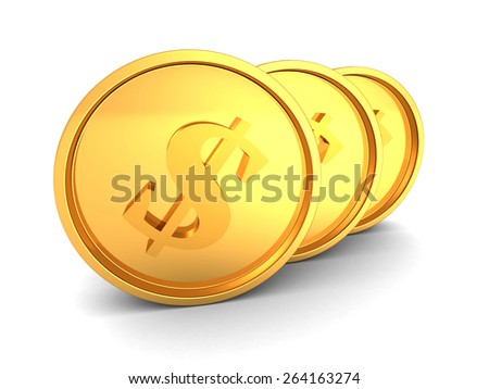 Three Golden Shiny Dollar Currency Coins. 3d Render Illustration - stock photo