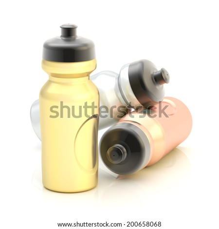 Three, golden, silver, bronze sport water bottles composition isolated over the white background