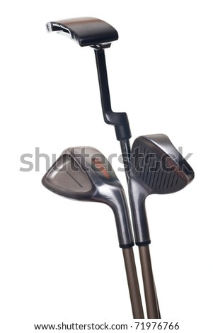 Three golf clubs isolated on white background - stock photo