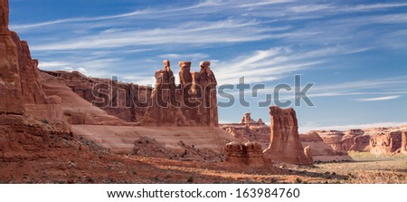 Three Gossips in Arches National Park, Utah - stock photo