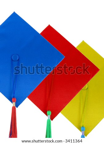 Three graduation caps