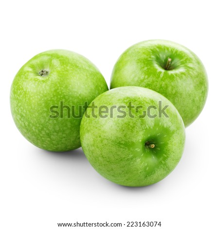 Three green apples isolated on white background