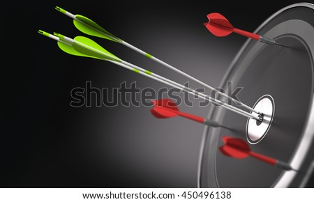 Three green arrows hitting the center of a black target and 3 darts out of the objective. Business strategy or competitive advantage concept. Space for text on the left side. 3D illustration