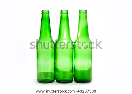 three green bottles isolated on white