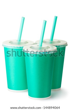 Three green cardboard cups with a straws. Isolated on a white. - stock photo