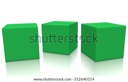 Three green 3d blank concept boxes next to each other, with reflection, isolated on white background. Rendered illustration. - stock photo