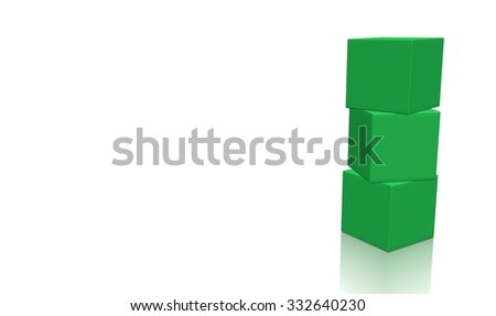 Three green 3d blank concept boxes on top of each other, isolated on white background. Rendered illustration. - stock photo