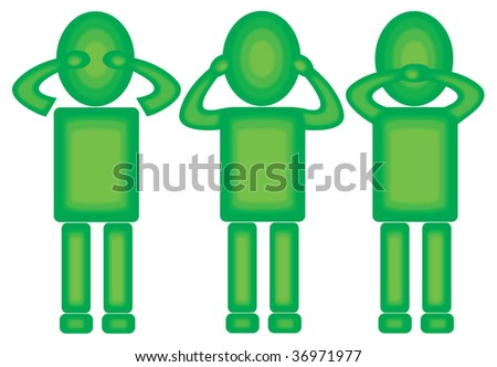 three green figures showing symbolic for: not to see, not to hear and not to speak