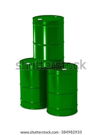 three green metal barrels on white background