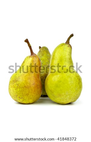 Three green pears isolated on the white background