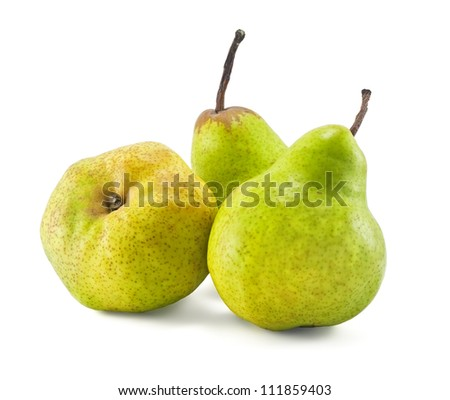 Three green pears on white background