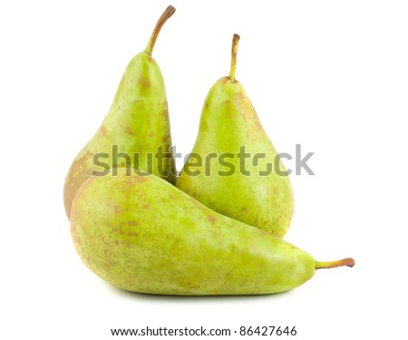 Three green ripe pears isolated on white background