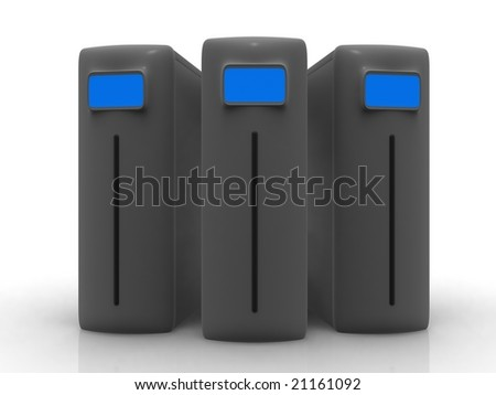 Three grey servers - stock photo