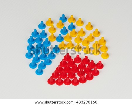 Three groups of colored plastic hat shaped parts with two merging on white - stock photo