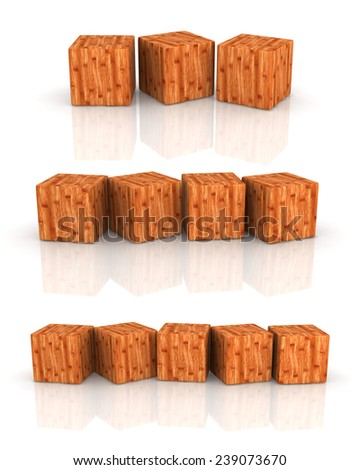 three groups of wood cubes on white background.
