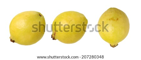 three guava isolated on white background  - stock photo