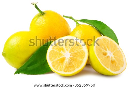 three half lemons and whole on a white background. - stock photo