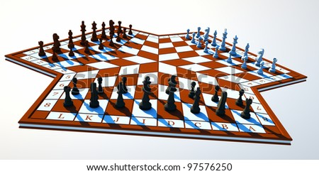 Three-handed chess - stock photo