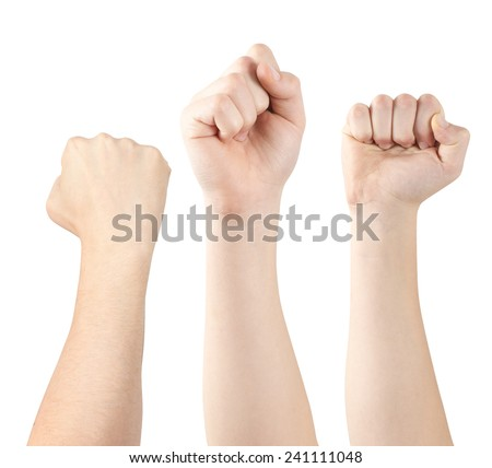 Three hands demonstrating fists, isolated, clipping path - stock photo