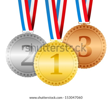 Three hanging medals