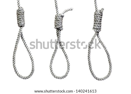 three hanging noose ropes, isolated on white
