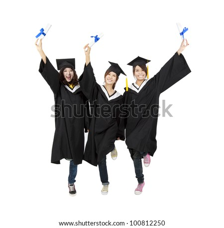 three happy asian graduation student isolated on white - stock photo