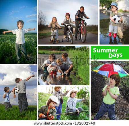 three happy brothers summer time collage - stock photo