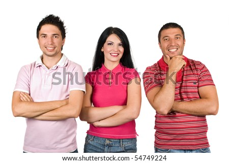 Three happy firiends wearing different pink color  t-shirts and standing in a row  with hands crossed facing camera isolated on white background - stock photo