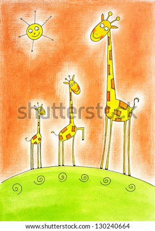 Three happy giraffes, child's drawing, watercolor painting on canvas paper