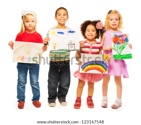 Three happy girls and boys Caucasian and dark skinned holding pictures they draw - stock photo