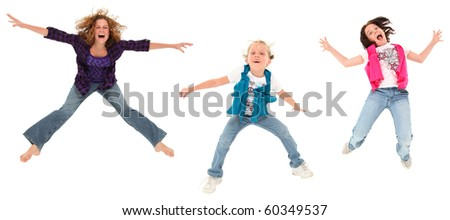 Three happy jumping sisters over white background.
