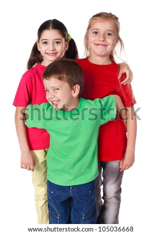 Three happy kids standing together, isolated on white - stock photo