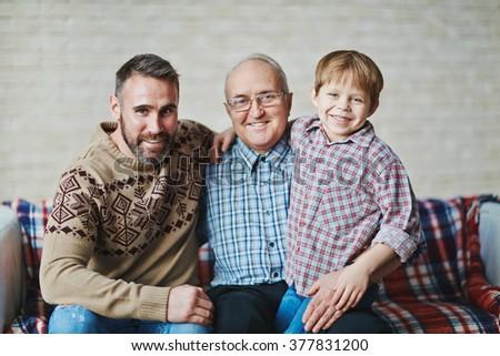 Three happy men - stock photo