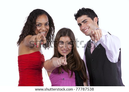 Three happy pointing to you (isolated on white) - stock photo
