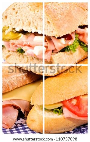 Three happy sandwiches collage - stock photo