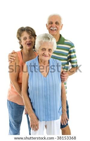Three Happy Seniors on white background . - stock photo
