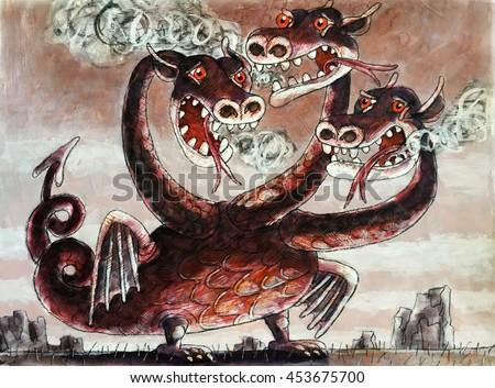 three-headed dragon serpent-dragon,a terrible monster,watercolor,illustration - stock photo
